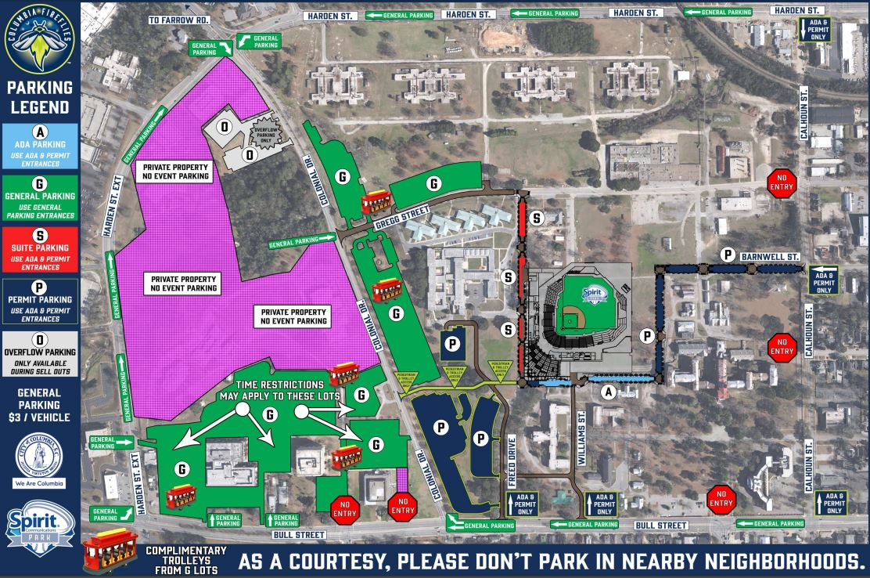 Parking At Spirit Communications Park Wltxcom - Fireflies map of us